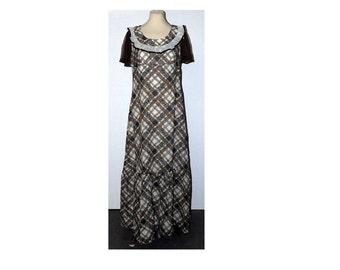 ORIGINAL 70's, Vintage English Lady Dress, Brown & Cream Checked Day Dress, Prairie Dress, Boho Dress, Festival Dress, Maxi Dress, Tea Dress