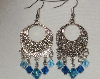 Blue Swarovski Crystal & Antiqued Silver Medallion Earrings