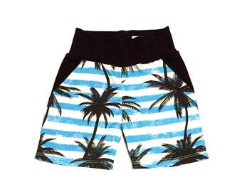 Baby boy shorts - pocket shorts -Palm trees