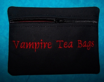 Vampire Tea Bags Tampon & Maxi Pad Bag Zippered Fabric Purse Pouch / Tampon Keeper GREAT GIFT / Stocking Stuffer