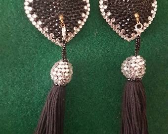 Crystal heart pasties w/ tassels AB/jet black