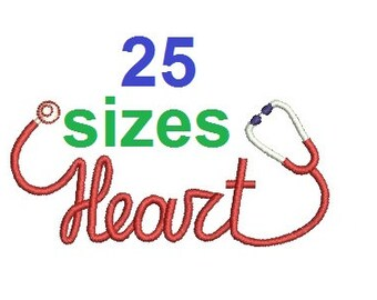 Heart Stethoscope Embroidery Design, Nurse Fill Embroidery Design Instant Download ER1031F5