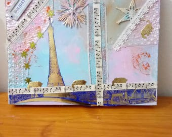 Paris holiday holliday embossed painting