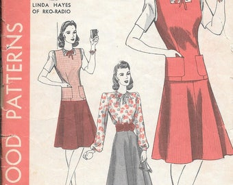 Vintage 1940s Hollywood Sewing Pattern 698 - Misses' Blouse, Skirt and Jerkin size 16 bust 34