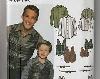 Boys' and Men's shirt, Vest, Bow Tie and Suspenders / Original Simplicity Uncut Sewing Pattern 7030