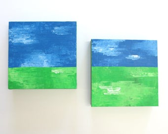 Horizon series, abstract landscape painting, set of two, green pastures, wall art - textured painting set