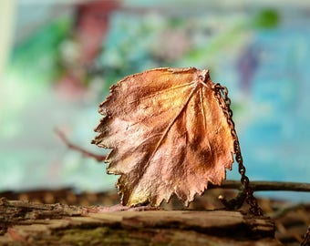 pretty natural necklace patina leaf necklace copper plating pendant necklace nature gift for woman botanical jewelry fall fashion