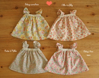 Liberty dress for waldorf doll - Doll clothing - Clothes for waldorf doll 14inches 35cm