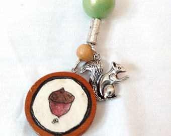 acorn drawing pendant w/ silver squirrel handmade necklace