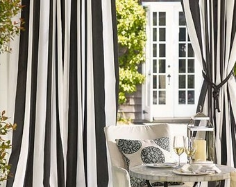 "Two Extra wide 75"" width lined curtain panels, black and white vertical stripes"