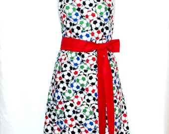 Soccer Apron, Ladies Red, Soccer Gifts, With Soccer Balls, Mom, Custom Personalize With Name, No Shipping Fee, Ready To Ship TODAY, AGFT 846
