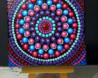 Mini Mandala Canvas#10x10cm#nice color#dots#hand painted#
