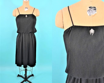 1970s dress | vintage 70s dress | black slinky dress | disco dress S