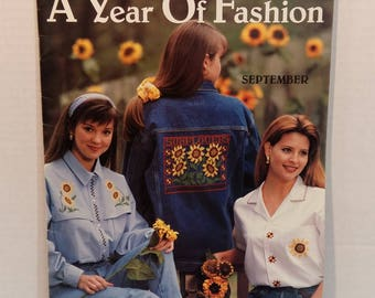 A Year Of Fashion Counted Cross Stitch 12 Patterns Fruit Flowers by Leisure Arts
