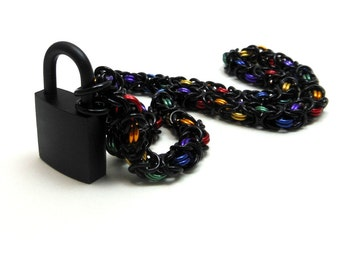 Unisex Submissive Day Collar Black and Rainbow Chainmail Choker with Padlock