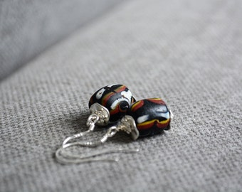 Feather trade bead earrings