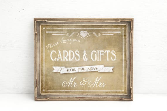 Wedding Cards Table Sign | PRINTED Wedding Decorations, Gifts table, Cards and Gifts sign, Country Wedding Sign, Cards & Gifts for Mr Mrs