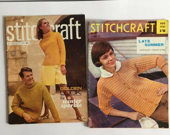 Stitch craft magazines, 1960's knitting patterns, August 1961, November 1967.