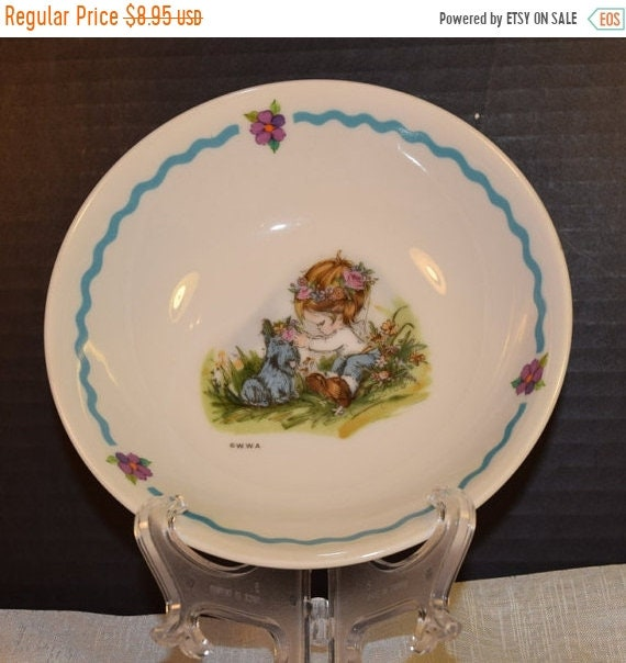 Delayed Shipping Child's Bowl Girl with Dog Vintage Table Talk Kids Serving Bowl WWA Made in Japan Children Dinnerware Little Girl with Scot