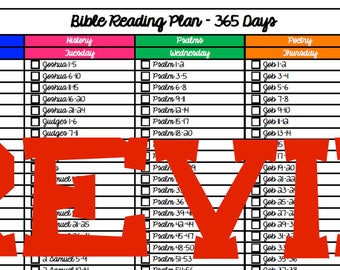 365 Day Bible Reading Plan - Cursive