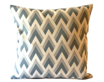 SET OF TWO 16x16 or 18x18 Chevron Print Decorative Pillow Cover - Medium Weight Cotton- Invisible Zipper Closure