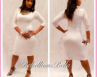 Womens Midi Length White Dress