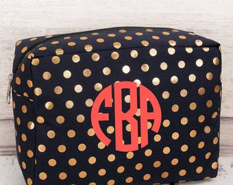 Metallic Gold Polka Dot Cosmetic Case in Navy or Black/ Makeup Bag/ Gift for Teen/ Gift for Mom/ Mothers Day Gift/ Bridesmaid Gift