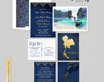 Destination wedding invitation Thailand Phuket Asia Thai Wedding Blue Gold bilingual illustrated wedding invitation Deposit Payment