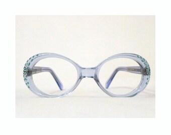Blue Rhinestone Eyeglass Frame. Mod Bubble Eye Glasses Sunglasses NOS / Unused. Vintage 60s 70s Bug EYe Cat Eye Glasses Frame