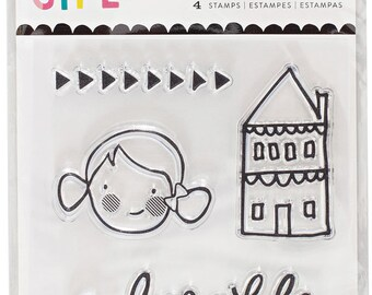 Crate Paper Cute Girl Clear Acrylic Mini Stamp Set -- MSRP 3.00