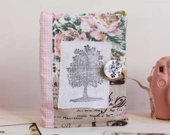 Photo album 100 pockets pretty antique floral fabric with handstamped tree
