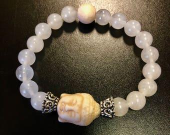 clear quartz buddha bracelet