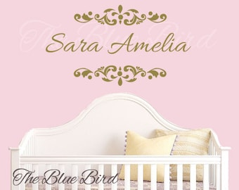 Name and Initial wall decal - wall decals nursery - damask decal - baby girl nursery name - baby girl decal - monogram BN040