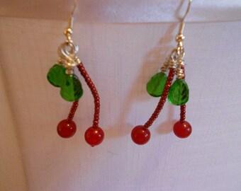 Door County Hand-Beaded Cherry Drop Earrings