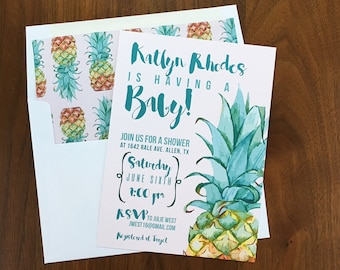Pineapple Baby Shower Invitation - Tropical Invites - Beach Baby Shower - Summer Baby Shower - Baby Shower Invites - Printed Invitations