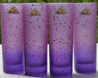 4 glasses cocktail glasses highball glasses Montana of purple 80s party vintage 80 s