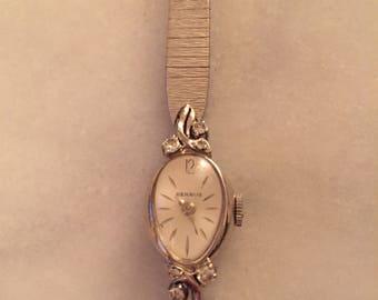 Vintage Benrus 14k gold and diamond watch