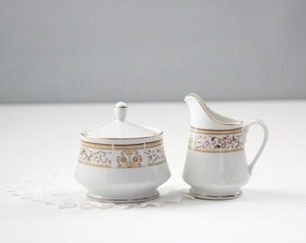 Wallace Heritage Daphne Pattern Sugar Bowl & Creamer Set