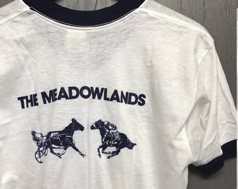 M nos thin vintage 70s Meadowlands horse racing v-neck ringer t shirt