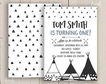 Teepee first birthday printable invitation boy, arrow tee pee invitation, tribal first invitation boy, Tribal Birthday, wild one printable