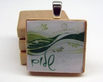 River of Life Hebrew Scrabble tile pendant - Shalom - Peace