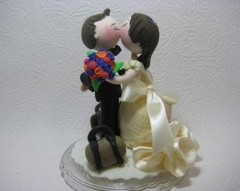 Custom wedding cake topper, traveler cake topper