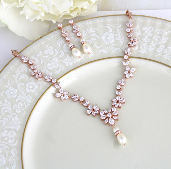 Rose gold necklace Bridal jewelry set Rose gold earrings