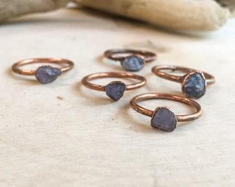 Raw Tanzanite Stacking Ring | Tanzanite Ring | Electroformed Ring | Birthstone Ring | Crystal Ring | Blue Stone Ring | Stackable Ring