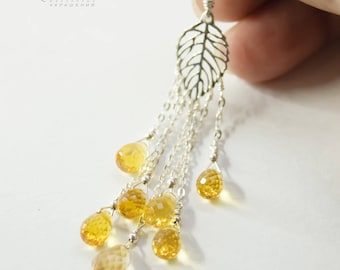 Earrings silver 925 LISTOPAD Yellow citrine Yellow earrings Earrings with natural stones Long earrings