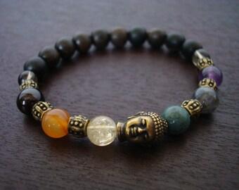 Women's Buddha Chakra Mala Bracelet - Brass Buddha Mala Bracelet - Yoga, Buddhist, Meditation, Prayer Beads, Jewelry