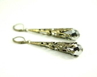 Metallic Silver Earrings Long Dangle Earrings Antiqued Brass Victorian Dangles