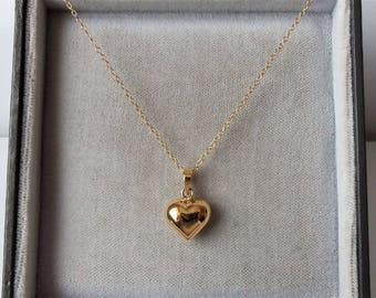 9ct Gold over Sterling Silver Puffed Heart Pendant Necklace.