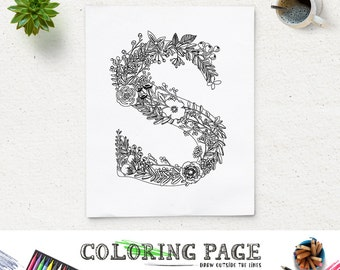 Colouring Pages Alphabet Printable : Sale floral alphabet printable coloring page letter p instant