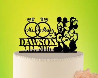 Wedding Cake Topper -Disney Wedding- Cake Topper - Funny Mickey Mouse Wedding Cake Topper - Disney wedding - Acrylic Cake Topper L2-01-001